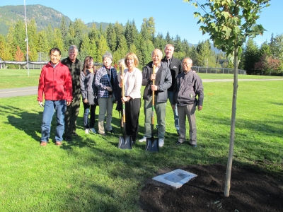 RMOW Japanese delegation following the tree planting at Meadow Park.