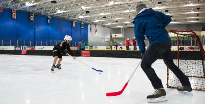 Playing hockey at Meadow Park Sports Centre photo by Justa Jeskova