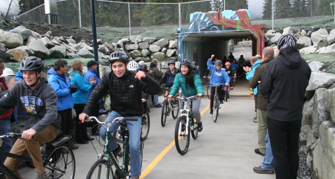 Whistler Secondary School students ride the new Mons Valley Trail connection. Photo by Curtis Smith