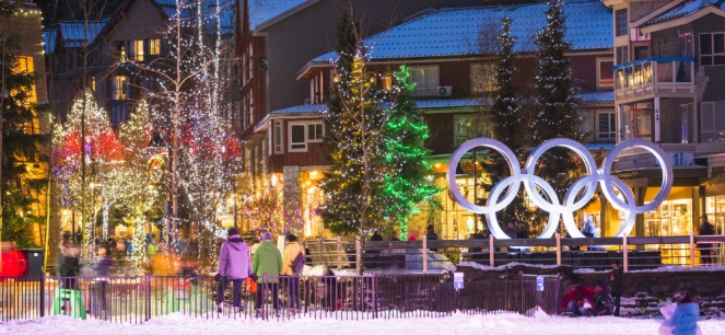 Whistler Village at night photo by Justa Jeskova