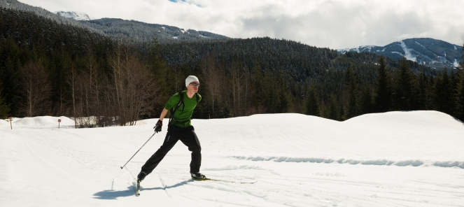 Cross country skier at Lost Lake photo by Mike Crane