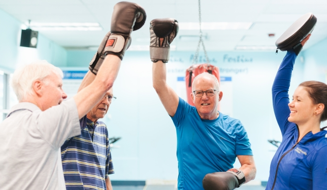 Boxing in the studio at Meadow Park Sports Centre image by Mirae Campbell
