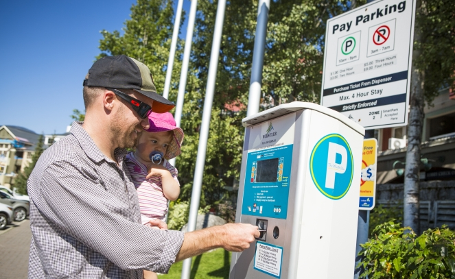 Paying for parking in Whistler Village