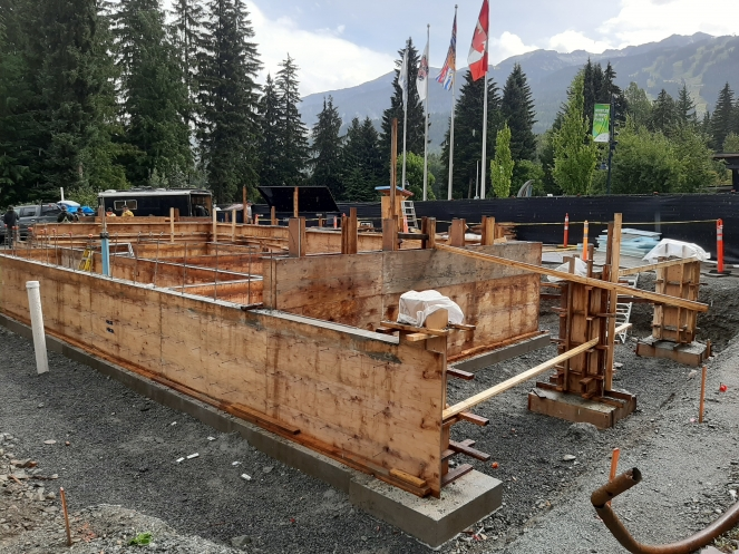 Construction on the new public washroom building at Whistler Olympic Plaza