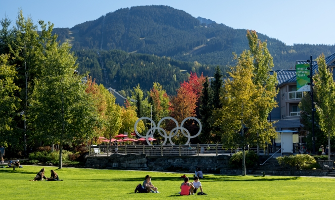 Physical distancing in Whistler Olympic Plaza image by Brad Kasselman