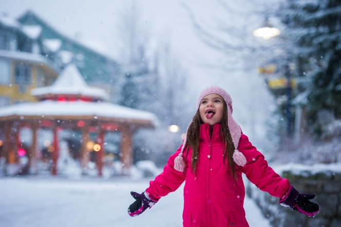 Catching snowflakes in Whistler Village