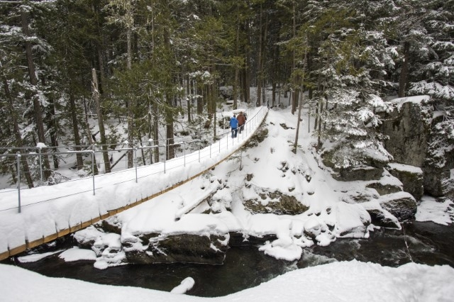 Snow covered suspension bridge to Train Wreck image by Justa Jeskova, courtesy of Tourism Whistler