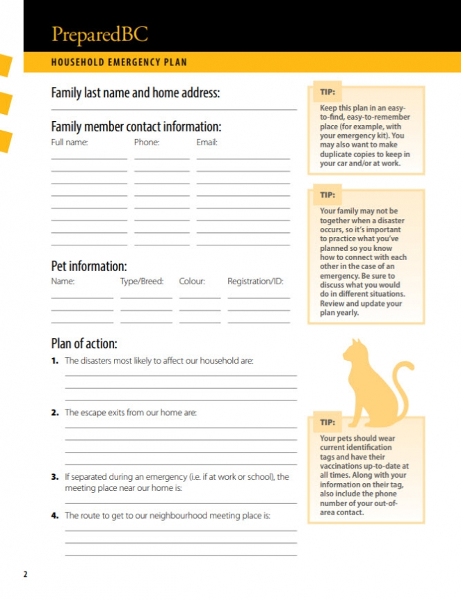 Household emergency plan template