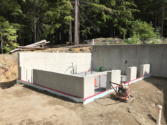 PassivHaus washroom back-filled concrete walls and foundations, July 2020