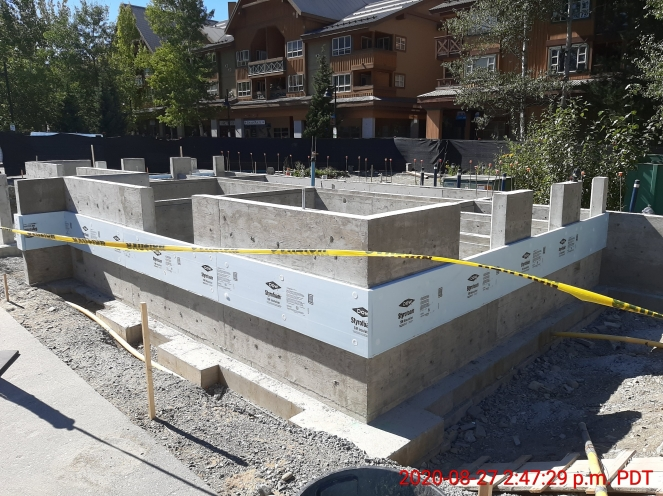 Whistler Olympic Plaza washroom concrete walls and insulation, August 2020