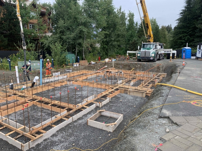 Whistler Olympic Plaza washroom concrete pour for foundations, August 2020