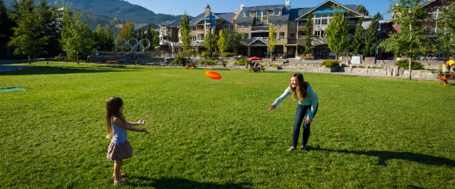 Playing frisbee in Whistler Olympic Plaza