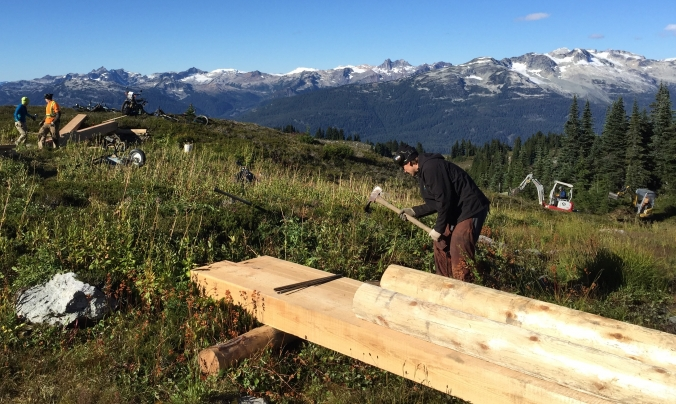 Crews working on the Alpine Trail Network