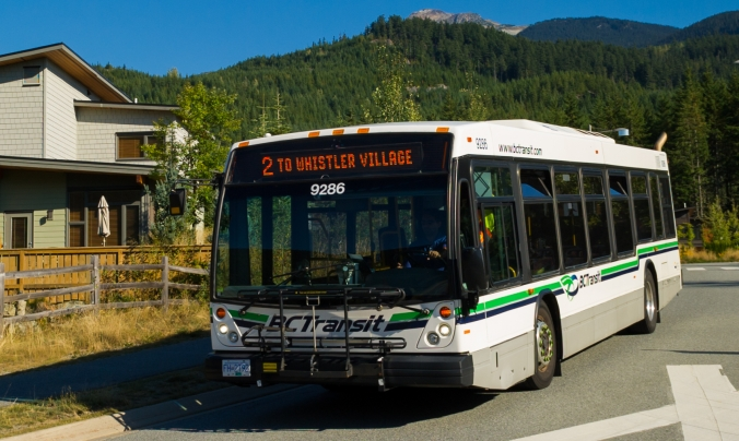 Bus travels to Whistler Village from Cheakamus