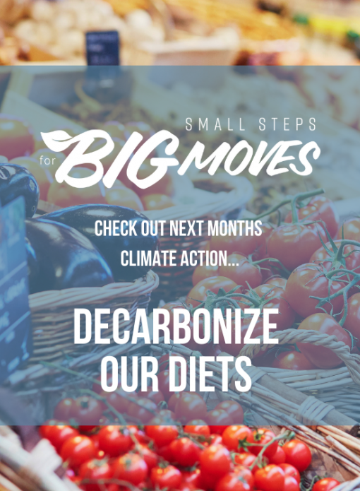 Check out next month's climate action: Decarbonize our diet