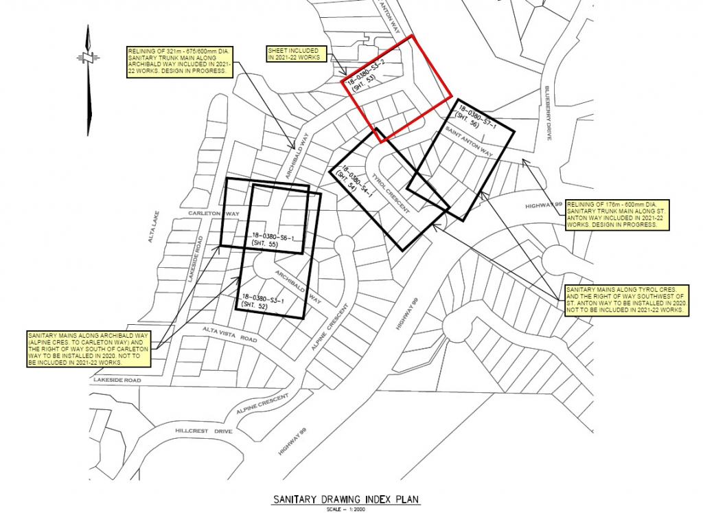 Location of planned sanitary sewer upgrades