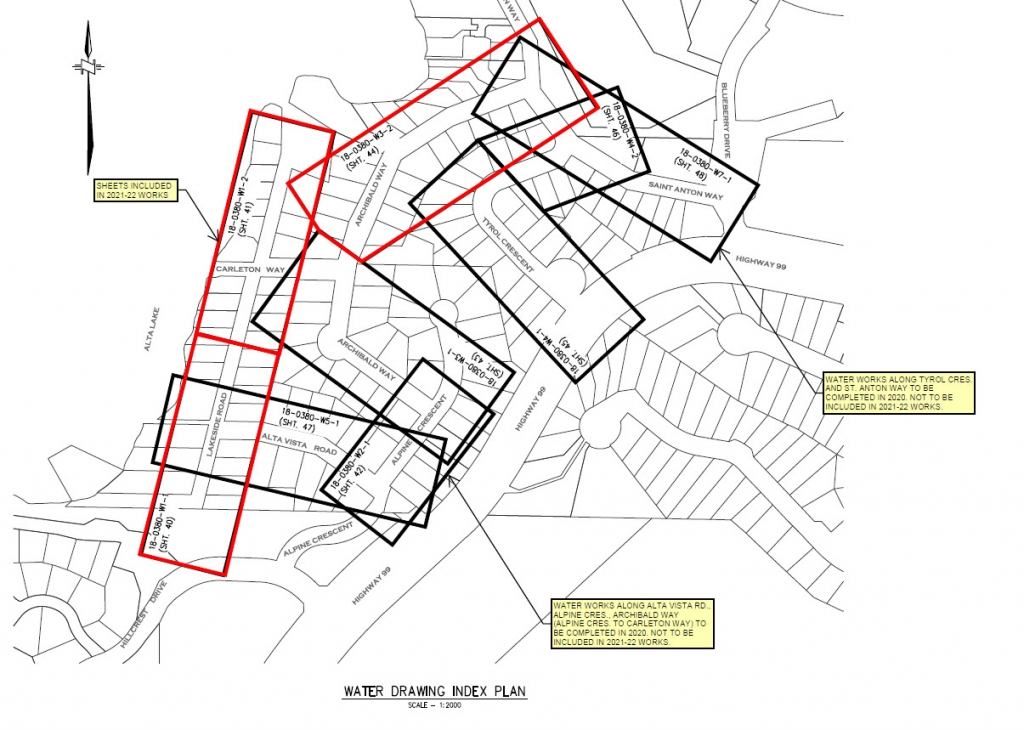 Location of planned water main upgrades