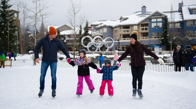 Outdoor skating at Whistler Olympic Plaza. Photo by Mike Crane