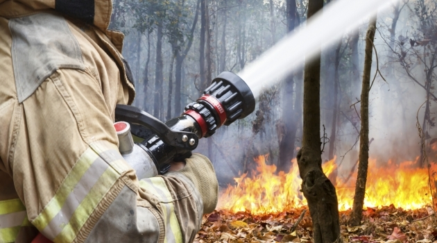 File photo Firefighter fighting a wildfire