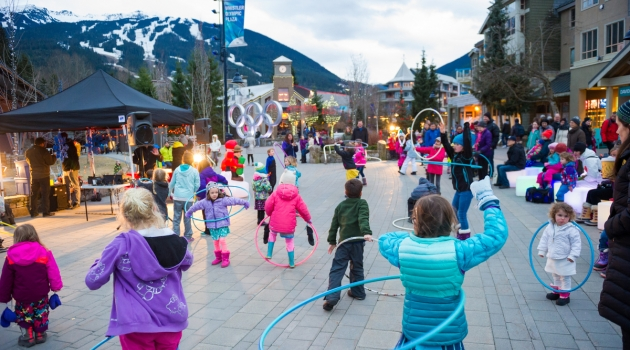 Family Apres at Whistler Olympic Plaza. Photo by Mike Crane
