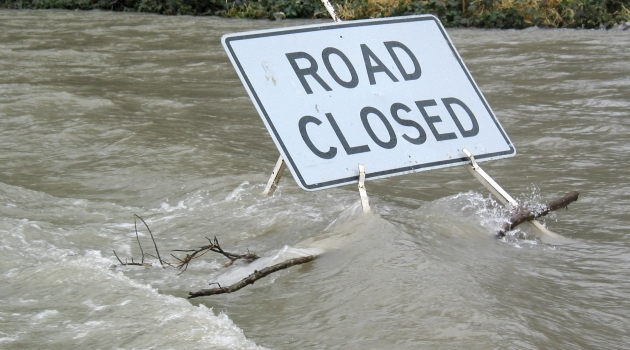 File photo road closed due to flooding