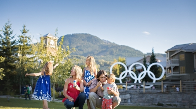 Whistler Olympic Plaza Olympic Rings family