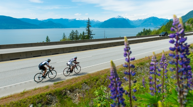 Road cycling the Sea to Sky Highway photo by Mike Crane/Tourism Whistler