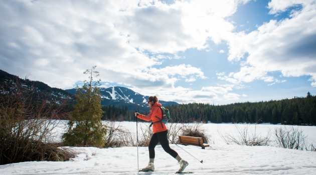 Skiing with Lost Lake beside photo by Mike Crane/TW
