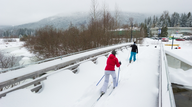 Nordic skiing on the Valley Trail near Meadow Park Sports Centre image by Mike Crane