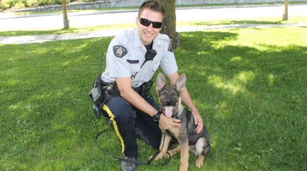 RCMP constable with canine friend